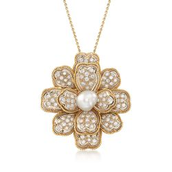 "C. 1970 Vintage 10x9mm Cultured Pearl and 3.30 ct. t.w. Diamond Floral Pendant Necklace in 14kt and 18kt Gold. 18"", , default"
