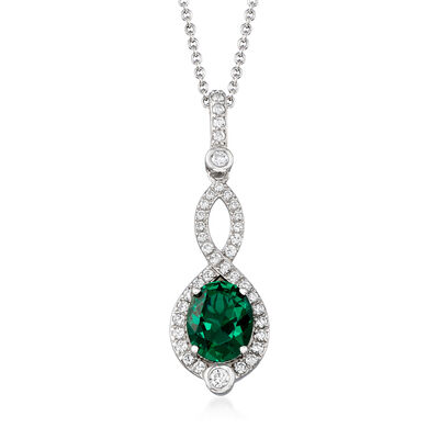 Simulated Emerald and .55 ct. t.w. CZ Pendant Necklace in Sterling Silver, , default