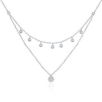 ".35 ct. t.w. CZ Layered Drop Necklace in Sterling Silver. 16"", , default"
