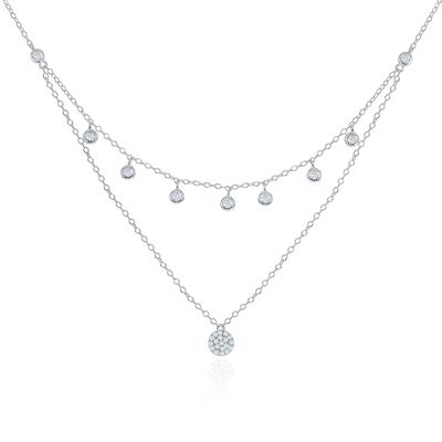.35 ct. t.w. CZ Layered Drop Necklace in Sterling Silver, , default
