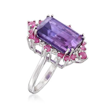 7.00 Carat Amethyst and .90 ct. t.w. Ruby Frame Ring in Sterling Silver, , default