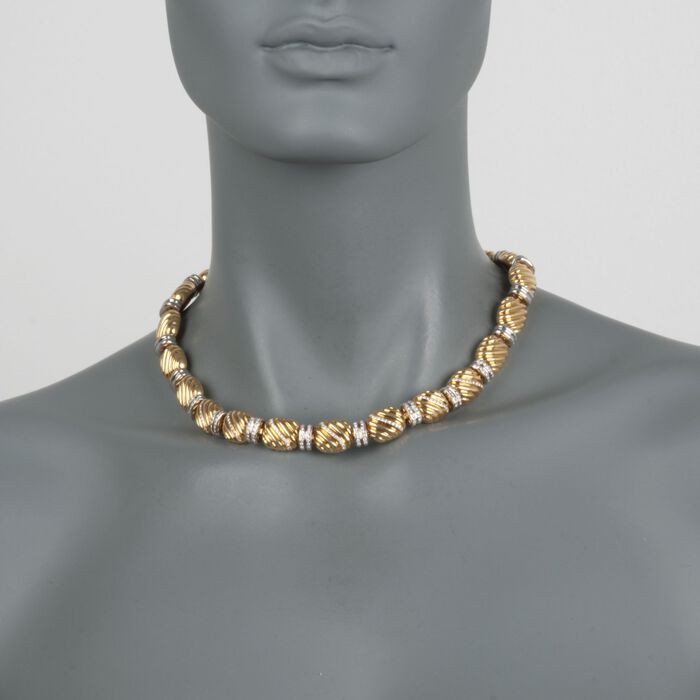 """C. 2000 Vintage Faraone Mannella 1.90 ct. t.w. Diamond Bead Necklace in 18kt Yellow Gold. 17"""", , default"""