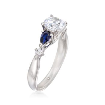 Gabriel Designs .52 ct. t.w. Sapphire and .10 ct. t.w. Diamond Engagement Ring Setting in 14kt White Gold. Size 8, , default