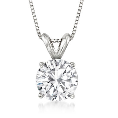 1.50 Carat Diamond Solitaire Necklace in 14kt White Gold