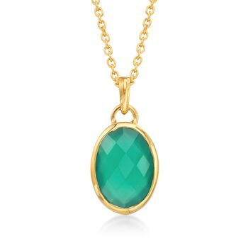 """Green Onyx Pendant Necklace in 18kt Gold Over Sterling. 16"""", , default"""