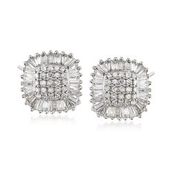 1.00 ct. t.w. Diamond Square Cluster Stud Earrings in 14kt White Gold, , default