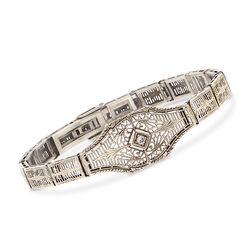 "C. 1950 Vintage 14kt White Gold Filigree Bracelet With Diamond Accent. 7"", , default"
