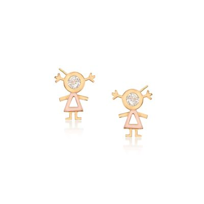 .20 ct. t.w. CZ Girl Stud Earrings in 18kt Two-Tone Gold, , default