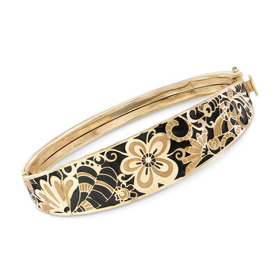Italian 14kt Yellow Gold and Black Enamel Floral Bangle Bracelet, , default