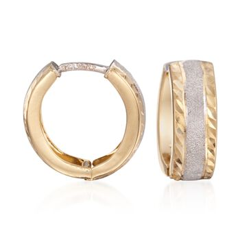 """14kt Two-Tone Gold Textured and Polished Huggie Hoop Earrings. 5/8"""", , default"""