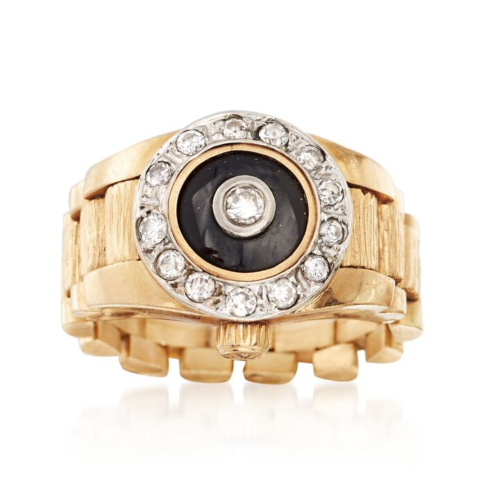 C. 1980 Vintage Black Onyx and .45 ct. t.w. Diamond Ring in 14kt Yellow Gold. Size 9, , default