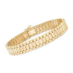"""Men's 14kt Yellow Gold Polished Link Bracelet. 8"""", , default"""