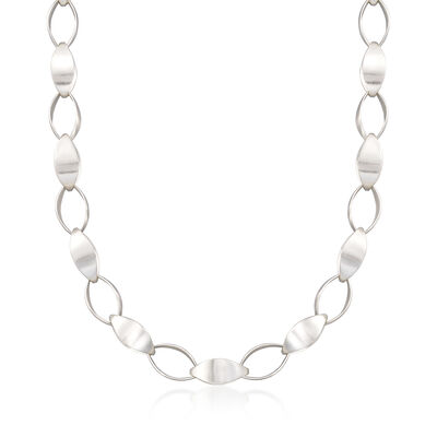 "Zina Sterling Silver ""Contemporary"" Large Silken-Link Necklace"