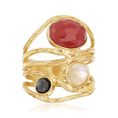 Multi-Stone Five-Row Ring in 14kt Gold Over Sterling