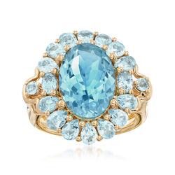 9.70 ct. t.w. Blue Topaz Ring in 18kt Yellow Gold Over Sterling Silver  , , default