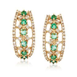 .30 ct. t.w. Emerald and .30 ct. t.w. Diamond Earrings in 14kt Yellow Gold, , default
