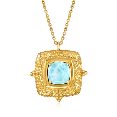 Larimar Pendant Necklace in 18kt Gold Over Sterling