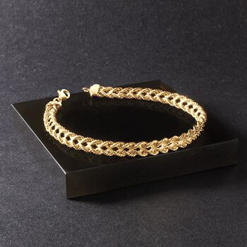 18kt Yellow Gold Over Sterling Silver Double Rope Chain Bracelet, , default
