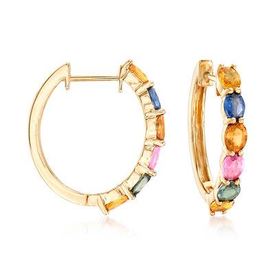 4.80 ct. t.w. Multicolored Sapphire Hoop Earrings in 14kt Yellow Gold, , default