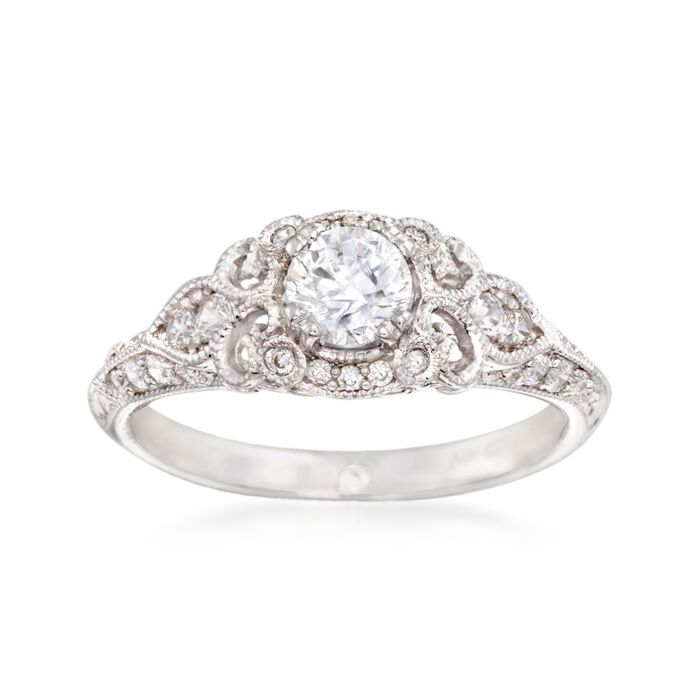 Gabriel Designs .31 ct. t.w. Diamond Engagement Ring Setting in 14kt White Gold, , default