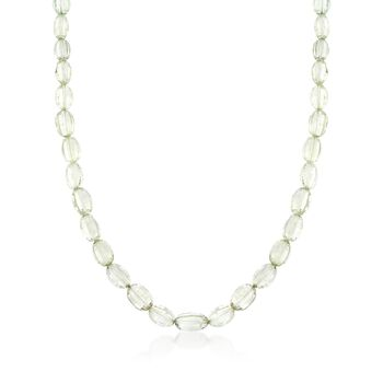 """Green Amethyst Bead Necklace in Sterling Silver. 18"""", , default"""
