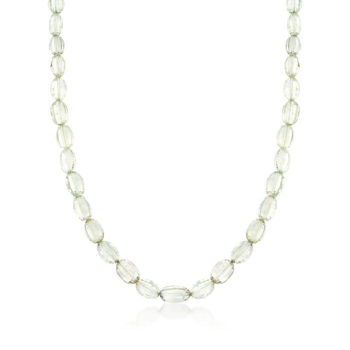"Green Prasiolite Bead Necklace in Sterling Silver. 18"", , default"