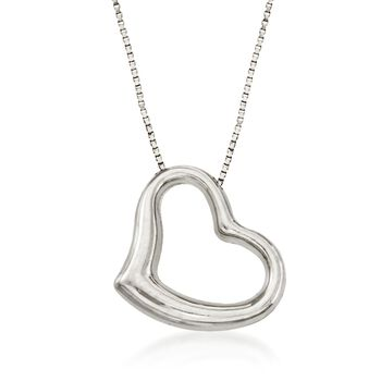 "Roberto Coin 18kt White Gold Heart Necklace. 16"", , default"