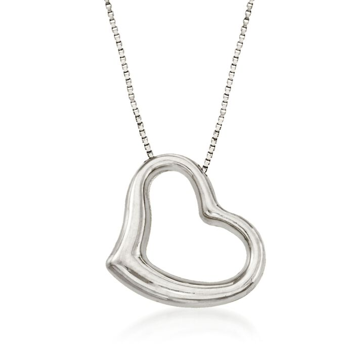 """Roberto Coin 18kt White Gold Heart Necklace. 16"""", , default"""