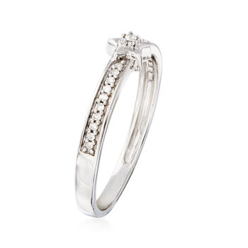 Sterling Silver Star Ring with Diamond Accents