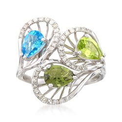 1.80 ct. t.w. Multi-Stone and .29 ct. t.w. Diamond Ring in 14kt White Gold, , default