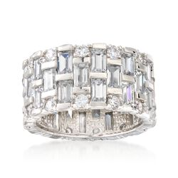 5.50 ct. t.w. Baguette and Round CZ Eternity Band in Sterling Silver, , default