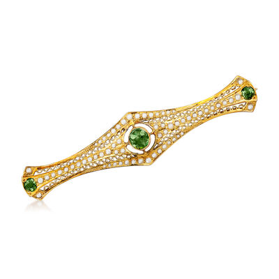 C. 1960 Vintage .55 ct. t.w. Tourmaline and 1x1.5mm Pearl Bar Pin in 14kt Yellow Gold, , default