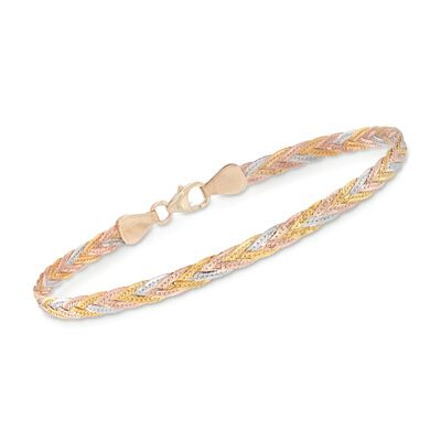 Italian 14kt Tri-Colored Gold Braided Herringbone Bracelet, , default
