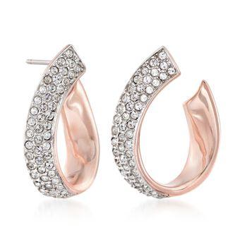 """Swarovski Crystal """"Exist"""" Pave Crystal Ribbon Hoop Earrings in Rose Gold Plate. 3/4"""", , default"""