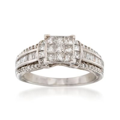C. 1990 Vintage 1.60 ct. t.w. Multi-Cut Diamond Engagement Ring in 14kt White Gold, , default