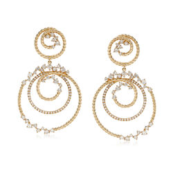 1.72 ct. t.w. Diamond Double-Swirl Drop Earrings in 14kt Yellow Gold, , default