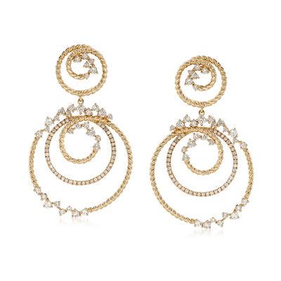 1.72 ct. t.w. Diamond Double-Swirl Drop Earrings in 14kt Yellow Gold, , default