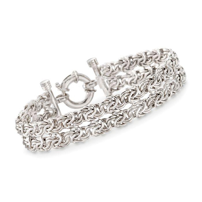 "Italian Sterling Silver Two-Strand Byzantine Bracelet. 7.5"", , default"