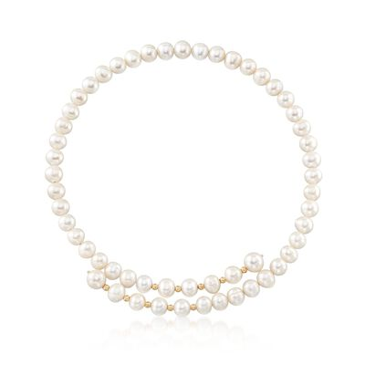 7-9mm Cultured Pearl Bypass Collar Necklace with 14kt Yellow Gold, , default