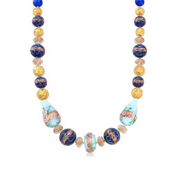 Italian Multicolored Murano Glass Floral Bead Necklace in 18kt Yellow Gold Over Sterling, , default
