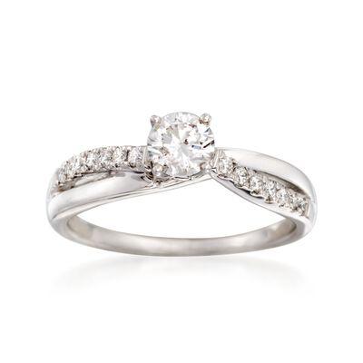 .60 ct. t.w. Diamond Twist Ring in 14kt White Gold, , default