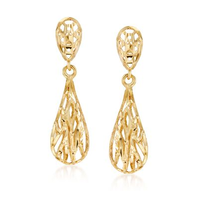 14kt Yellow Gold Openwork Drop Earrings, , default