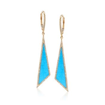 Turquoise and .40 ct. t.w. Diamond Triangle Drop Earrings in 14kt Yellow Gold, , default