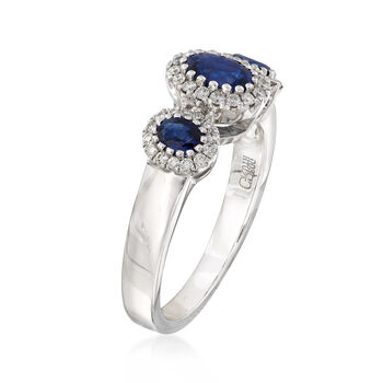 Gregg Ruth 1.21 ct. t.w. Sapphire and .27 ct. t.w. Diamond Ring in 18kt White Gold, , default
