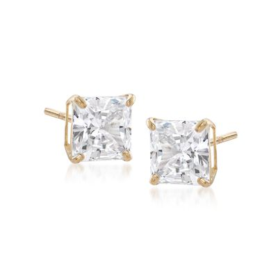 1.00 ct. t.w. Princess-Cut CZ Stud Earrings in 14kt Yellow Gold, , default