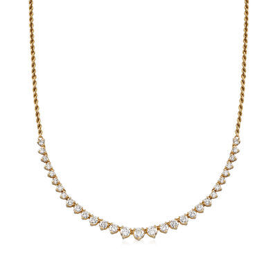 C. 1980 Vintage 3.00 ct. t.w. Diamond Rope Chain Necklace in 14kt Yellow Gold