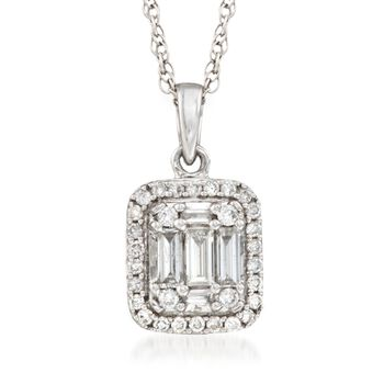 """.39 ct. t.w. Diamond Halo Pendant Necklace in 14kt White Gold. 18"""", , default"""