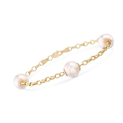 9.5-10.5mm Cultured Pearl Station Bracelet in 14kt Yellow Gold, , default