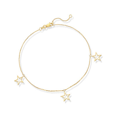 14kt Yellow Gold Star Trio Dangle Anklet, , default
