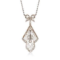 """C. 1980 Vintage .65 ct. t.w. Diamond Filigree Pendant Necklace in Platinum. 20"""", , default"""